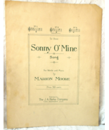 "Antique Sheet Music -1923 - ""Sonny O' Mine"" - by Marion Moore #7535 - $3.99"