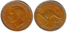 1943 George VI Australia One Penny - Fine - $4.90