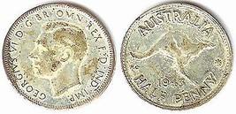 1943 George VI Australia Half Penny - Fine - $2.92