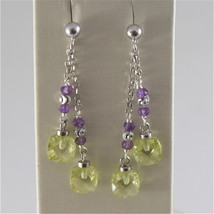 925 RODIUM SILVER EARRINGS WITH FACETED BALLS, AMETHYST & CRYSTAL MADE IN ITALY