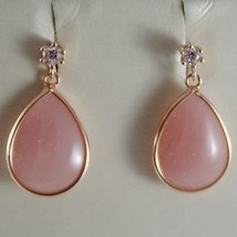 SOLID 18K ROSE GOLD PENDANT EARRINGS DROP PINK QUARTZ & ZIRCONIA MADE IN ITALY