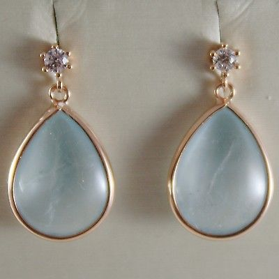 SOLID 18K ROSE GOLD PENDANT EARRINGS DROP AQUAMARINE & ZIRCONIA MADE IN ITALY