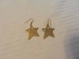 Women's Vintage Gold Tone Engraved Star Dangle Pierced Earrings - $22.28