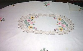 "Scalloped, Oval, Hand Embroidered Tablecloth (63"" x 45"") - $29.65"