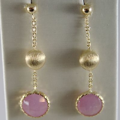 SOLID 18K YELLOW GOLD PENDANT SATIN EARRINGS FACETED PINK QUARTZ MADE IN ITALY