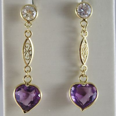 SOLID 18K YELLOW GOLD PENDANT EARRINGS AMETHYST HEART, ZIRCONIA, MADE IN ITALY