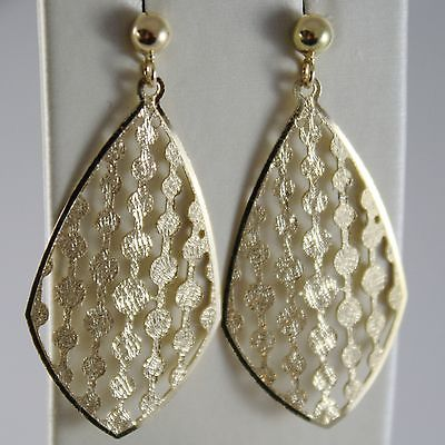 SOLID 18K YELLOW GOLD PENDANT DROP EARRINGS FINELY WORKED, BRIGHT MADE IN ITALY