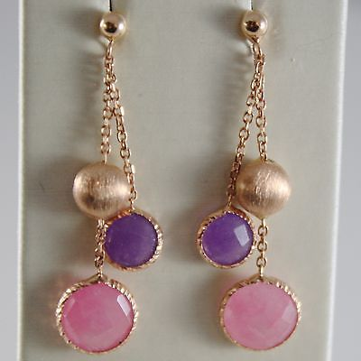 SOLID 18K ROSE GOLD PENDANT EARRINGS AMETHYST AND PINK QUARTZ MADE IN ITALY