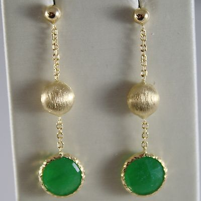 SOLID 18K YELLOW GOLD SATIN PENDANT EARRINGS GREEN CHALCEDONY MADE IN ITALY