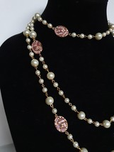 Long Pearl Necklace with Crystal Pink Pendents Gold in Colour - $61.00