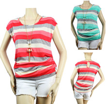 Stripe Short Sleeve  Stitching Side SHIRT w/Necklace Round Neck Cute Cas... - $19.99