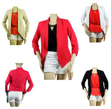 Good 55% Linen Long Sleeve Cardigan BLAZER Nice Rib Casual Layering Top SML - $23.99