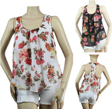 Cute Flower Print Chiffon Blouse Open Racer Back,Stretch Lining Casual Top Sml - $17.99
