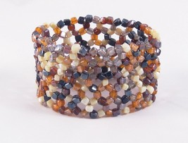 New Glass Bead Stretch Bracelet With Rich Earth Tone Beads #B1209 - $4.99