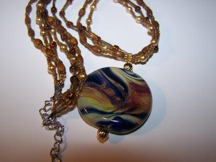 Raku lampwork glass tabular beaded necklace handmade Bonanza