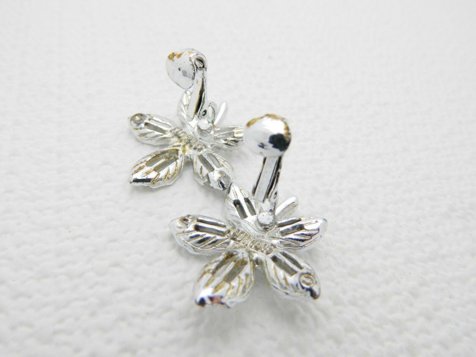 VTG SARAH COVentry Signed Silver Tone Flower Clip Earrings