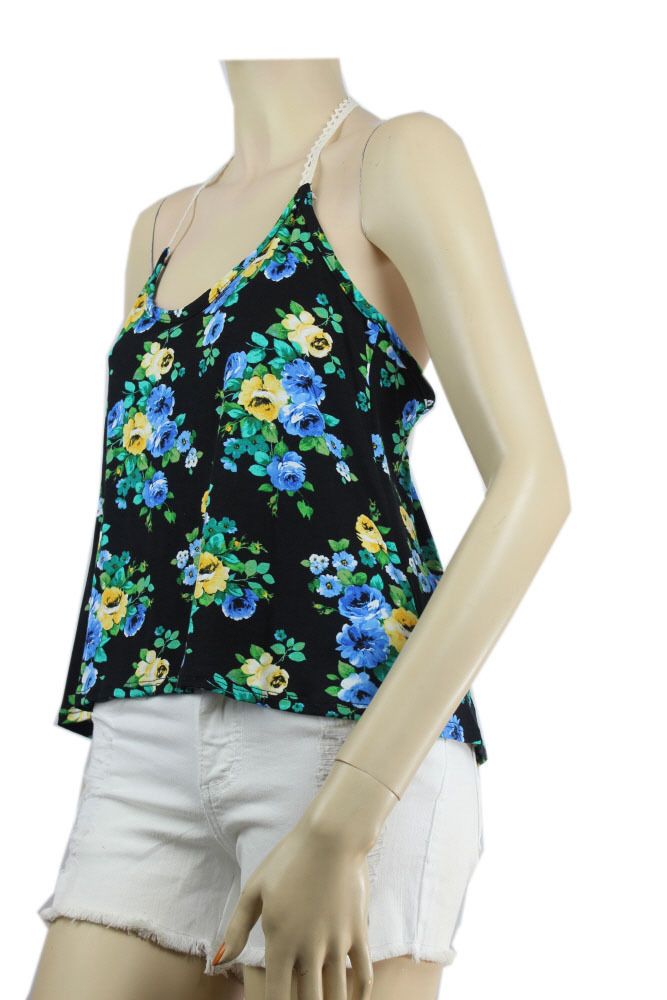 Cute Flower Print Hater Racer Back TANK TOP Lace Trim Stretch Casual Top SML