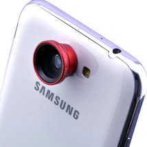 Smartphone Telephoto Wide Angle Lens 3 in 1 set Magnetic Detachable (Red) - $22.77