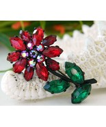 Vintage West Germany Red Green Rhinestone Flower Brooch Pin Japanned - $24.95