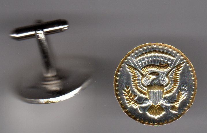 Real Kennedy Half Dollar, 2-Toned Gold on Silver, Coin Cufflinks