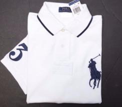 Polo Ralph Lauren Hombre Grande Pony Malla Blanco Algodón y Alto L / Gl - $53.20