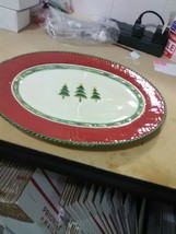 """Fitz and Floyd 14"""" Oval Platter - Timberline - Red with Green Trim  - Ho... - $36.75"""