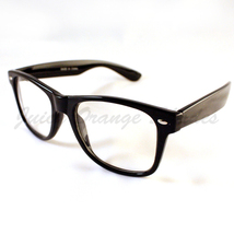80's Horn Rimmed VINTAGE Retro Classic CLEAR LENS Eyeglasses BLACK - $9.00 CAD