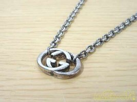 Gucci Gg Logo Plate Necklace Silver925 40Cm F/S From JP - $347.67