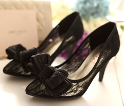 Black Party shoes,Bow Shoes Heels,Bow Pumps,Bow Tie Shoes,Bow Shoes Bridal, - $78.00