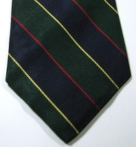 Brooks Brothers Makers Rich Navy Gold Green Red Stripe Tie Rare  100% Silk - $29.99