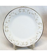 "Noritake China Duetto 6610 Salad Plate 8-1/4"" White/Gold Scrolls Border - $4.49"