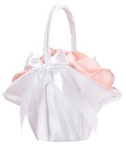Large White Satin Ruffled Wedding Flower Girl Basket Ceremony Bows Aisle - $17.98