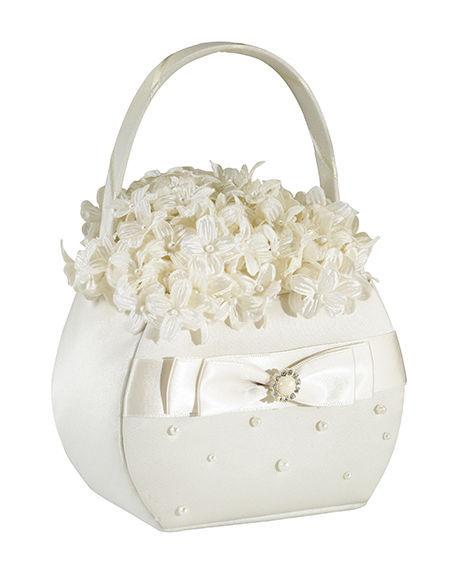 Scattered Pearl Ivory Wedding Flower Girl Basket Satin Ceremony Satin Rhinestone