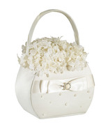 Scattered Pearl Ivory Wedding Flower Girl Basket Satin Ceremony Satin Rh... - $15.89