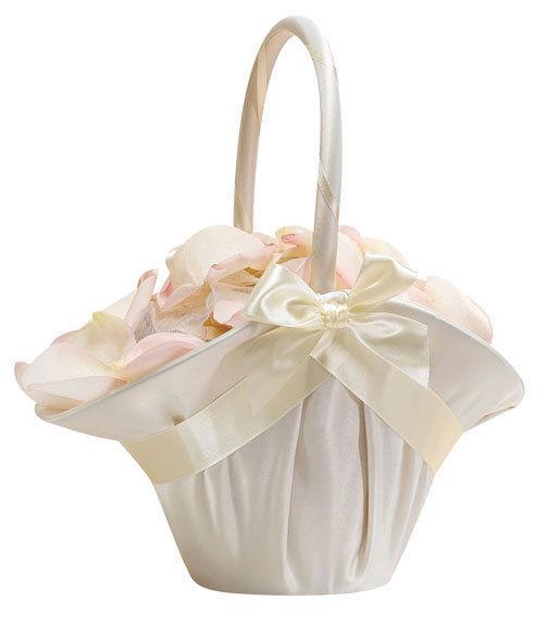 Large Ivory Satin Ruffled Wedding Flower Girl Basket Ceremony Bows Aisle - $17.98