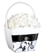 Black  and White Wedding Flower Girl Basket Ceremony Satin Bow Rhinestones Gift - $17.90