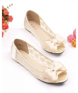 See Through Lace Shoes,Open toe Shoe lace styles,Peep toe Lace Ballet Flats - $48.00