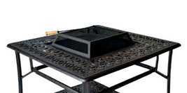 Outdoor Fire Pit Coffee Table Elisabeth Patio Cast Aluminum Furniture Bronze image 1