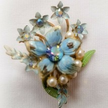 Vintage costume jewelry brooches Coro flower bouquet blue with Pearl's & stones - $24.75