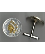 "Indian head penny ""Gold & Silver bust"", 2 Toned Coin Cufflinks - $98.00"