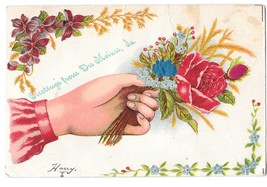 Greetings from Des Moines IA Hand w Rose Silk Rose Bud Embossed Postcard - $4.99