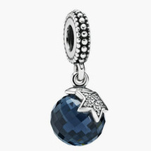 Authentic 925 Sterling Silver Midnight Moon & Star Blue CZ Pendant Charm... - $23.40
