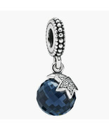 Authentic 925 Sterling Silver Midnight Moon & Star Blue CZ Pendant Charm... - £17.34 GBP