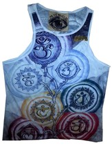 a2 om Men Top Sleeveless white 100% Cotton Graphic Buddha Chakra Yoga M MIRROR - $12.86