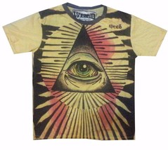 men t shirt short sleeve pyramid Egypt eye illuminati cotton yellow geometric M - $12.86