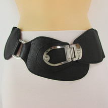 New Women Elastic High Waist Big Buckle Black Safari Fashion Belt Hip XS S M - $18.61