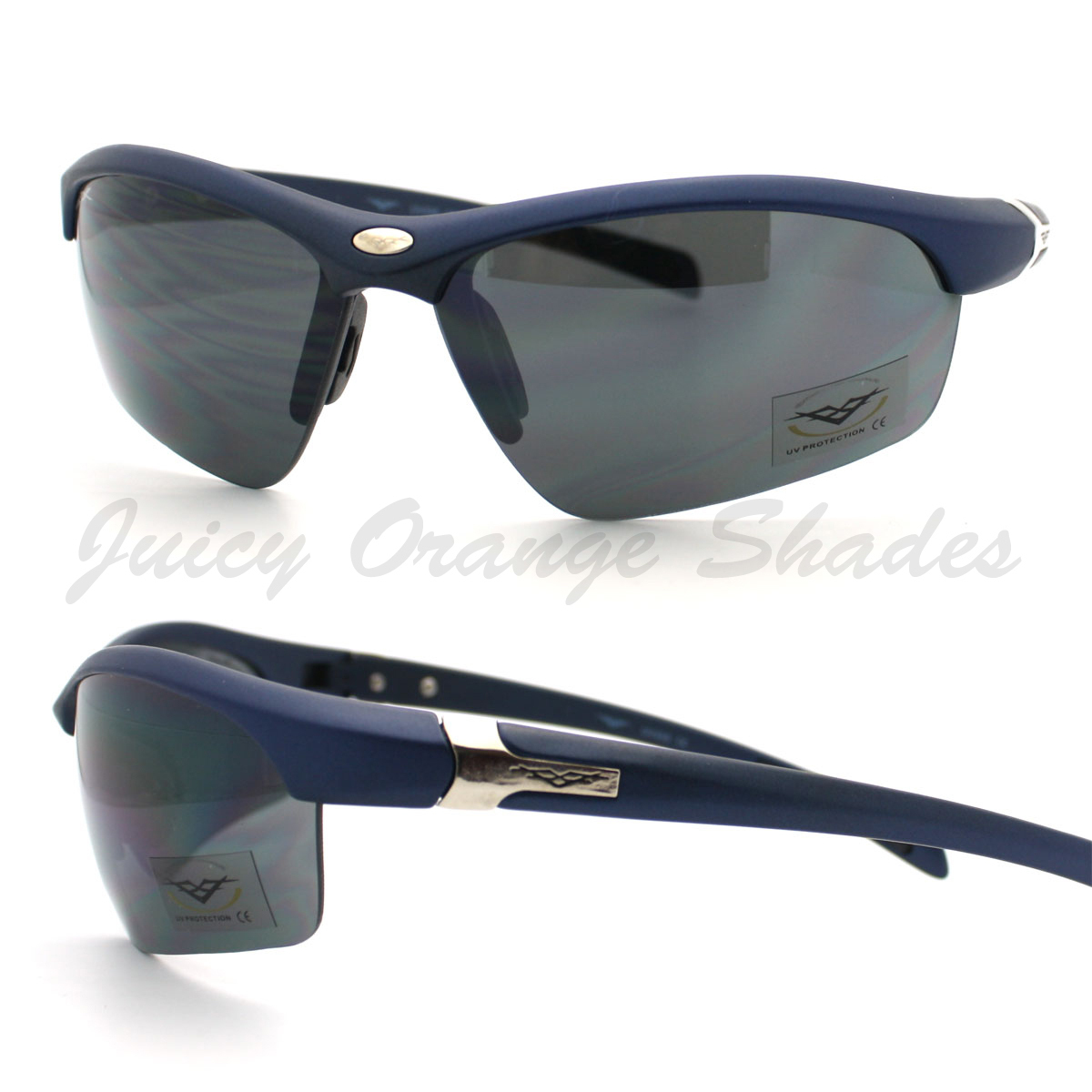 Primary image for All Sports Sunglasses Mens Half Rim Stylish Comfort Eyewear NAVY BLUE