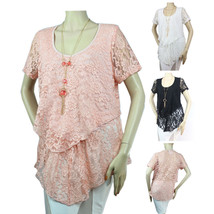 Floral Lace Ruffle Round Neck Blouse w/ Necklace Lining Stretch Dressy T... - $23.99