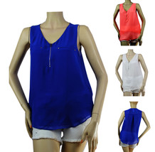 Sexy V Neck Sleeveless CHIFFON BLOUSE w/ Zipper Front,Lining Casual Tank... - $17.99