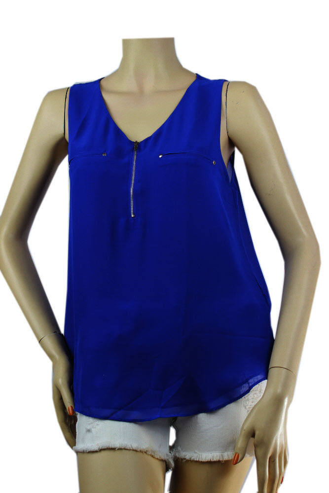 Sexy V Neck Sleeveless CHIFFON BLOUSE w/ Zipper Front,Lining Casual Tank Top SML
